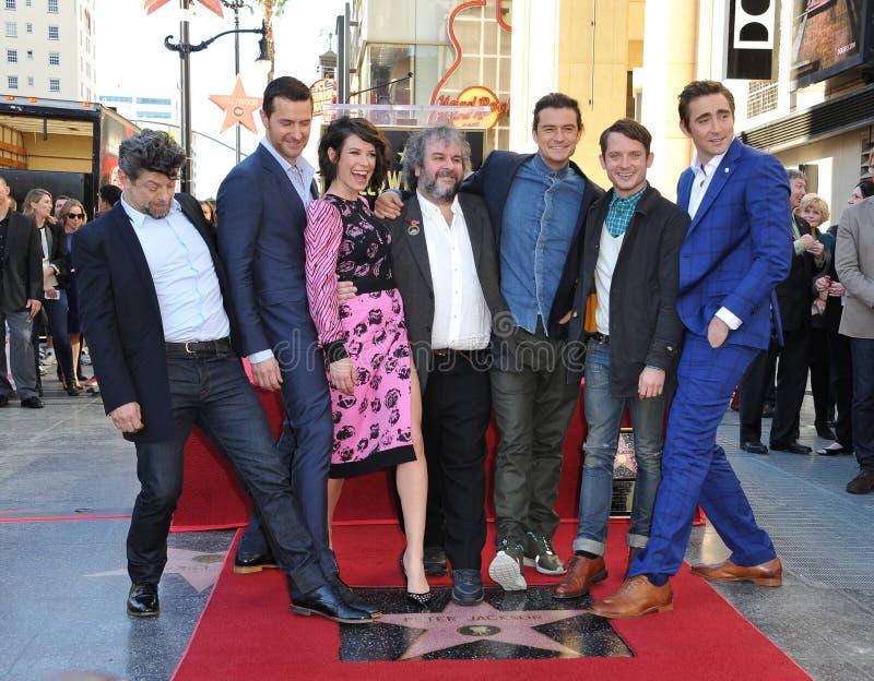 Andy Serkis, Richard Armitage, Evangeline Lilly, Peter Jackson, Orlando Bloom, Elijah Wood & Zawietrzny tempo zdjęcie stock