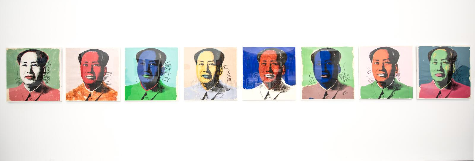 Andy Warhol`s `Mao` prints. Andy Warhol's Mao Tse Tung 1972 is a silk-screen portrait of the Chinese leader that was made in many versions. It is one of stock images