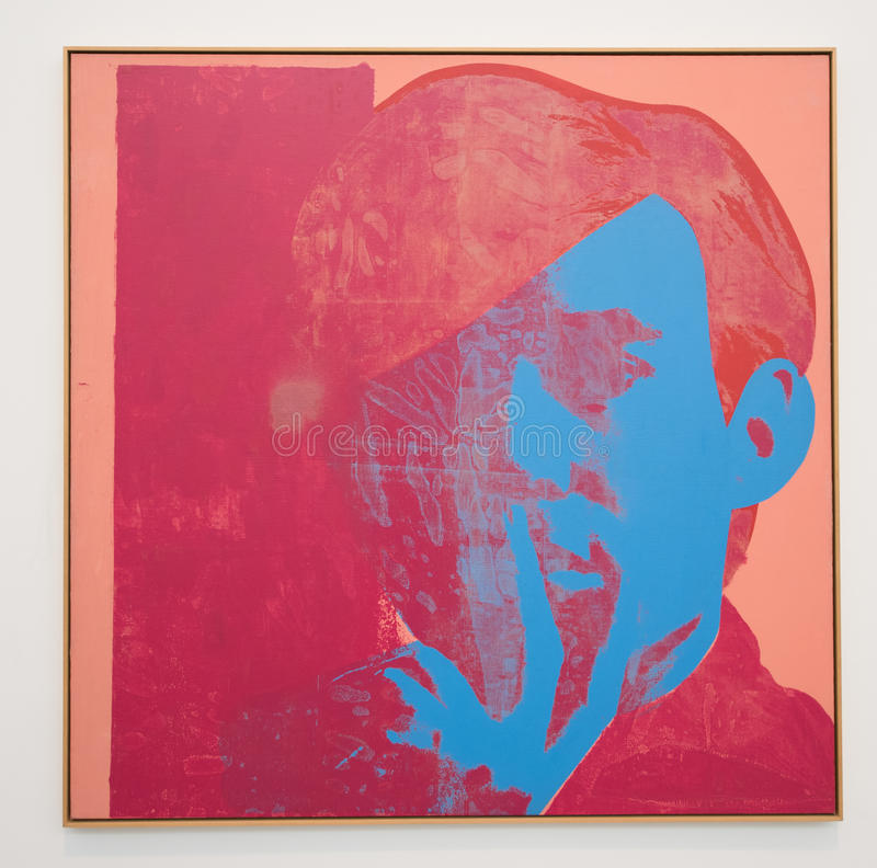 Andy Warhol, self portrait. Andy Warhol's self portrait made in 1967. Synthetic polymer paint and silkscreen on canvas. Part of a series that Warhol royalty free stock images