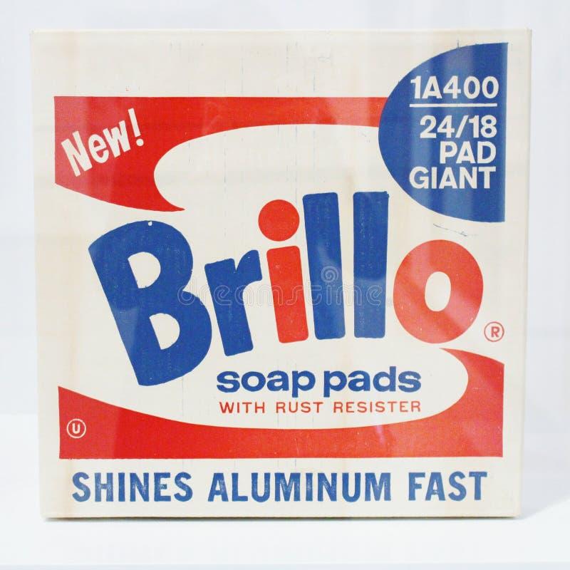 Andy Warhol, κιβώτιο μαξιλαριών σαπουνιών Brillo, Moderna Museet στοκ εικόνες