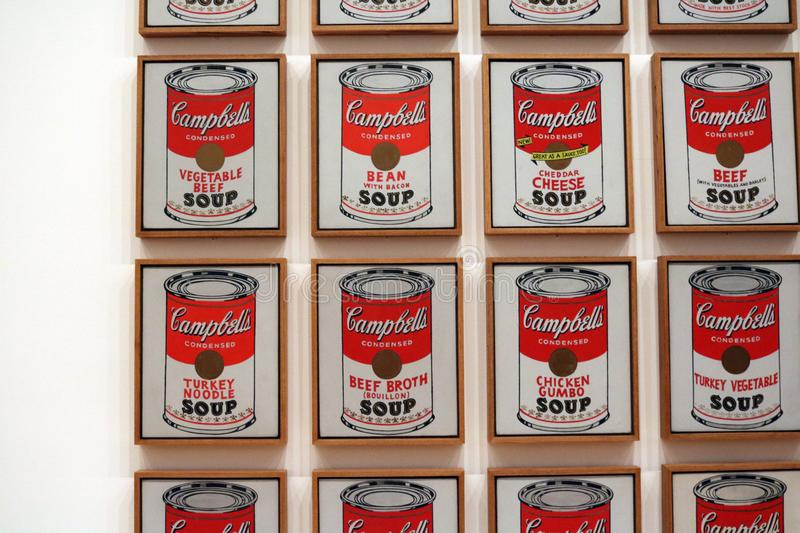 Campbell`s soup cans Andy Warhol at The Museum of Modern Art. Andy Warhol cambell`s soup framed and tiled images stock photos