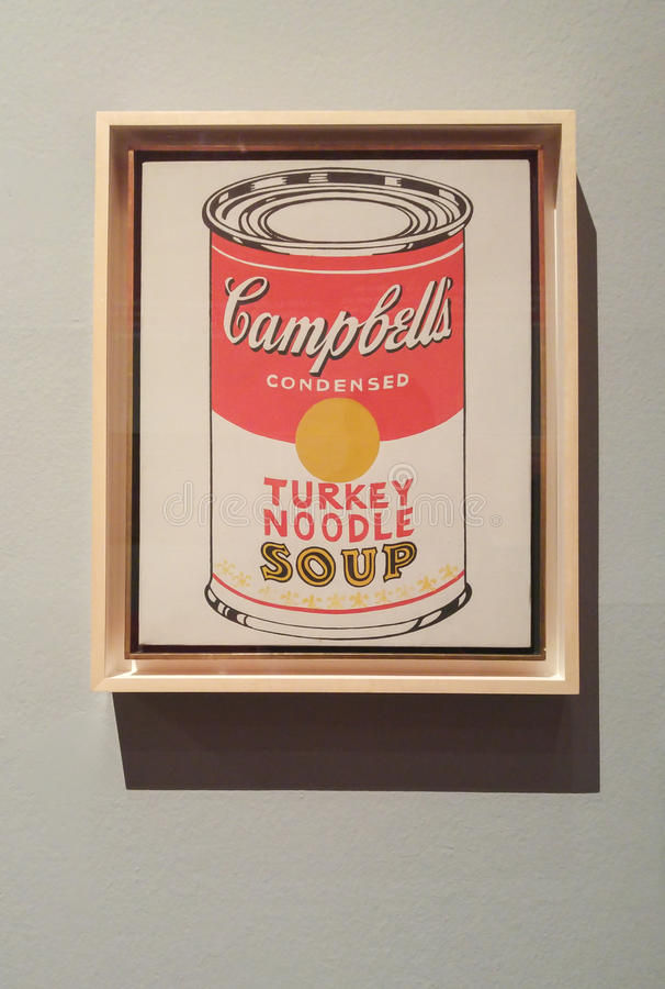 Andy Warhol Campbell`s Soup Cans. A painting from the famous artist Andy Warhol of Campbell`s Soup Cans, famous pop artist displayed in an exhibition with one of stock images