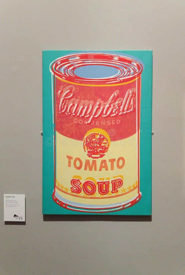 Andy Warhol Campbell`s Soup Cans. A painting from the famous artist Andy Warhol of Campbell`s Soup Cans, famous pop artist displayed in an exhibition with one of royalty free stock photos