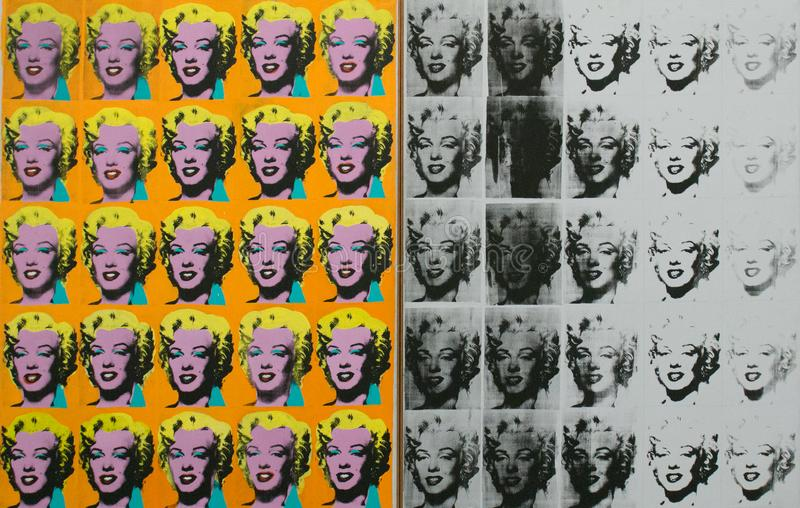 An artwork by Andy Warhol in the famous Tate Modern in London royalty free illustration