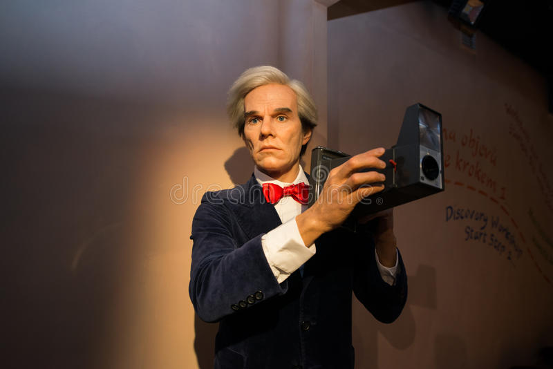 Andy Warhol in Grevin museum of the wax figures in Prague. Prague, Czech republic, July 22, 2017: Andy Warhol in Grevin museum of the wax figures in Prague royalty free stock photo
