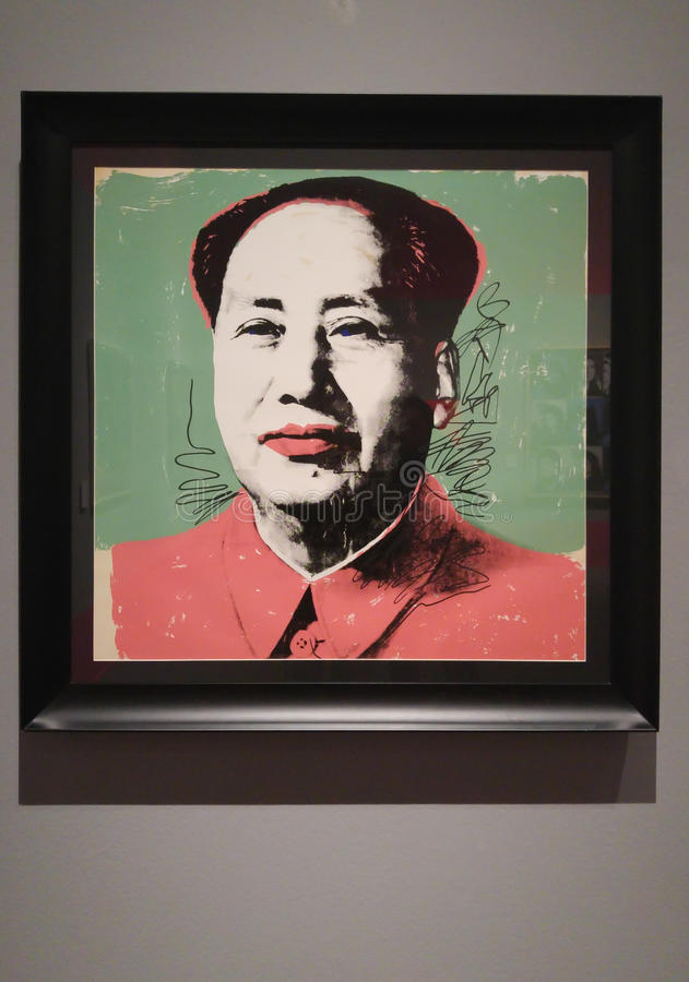 Andy Warhol Mao Zedong print. An Andy Warhol portrait print of Mao Zadong or Mao Tse-tung, also known as Chairman Mao, a Chinese communist revolutionary and stock photos