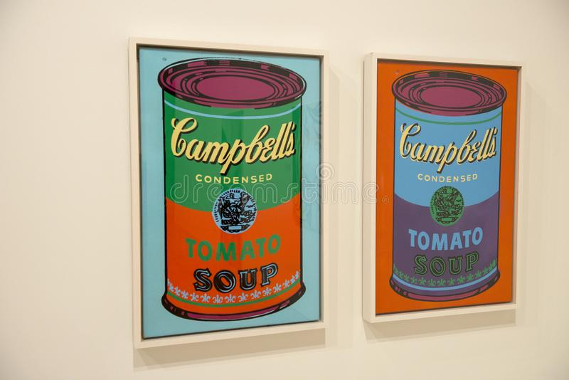 Andy Warhol, Modern Pop Art. Paintings of Campbell`s soup cans done by pop artist Andy Warhol. The famous man was an icon in the modern art world. These works royalty free stock images