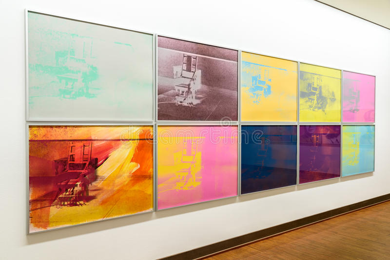 Andy Warhol Paintings At Albertina museum i Wien royaltyfria bilder