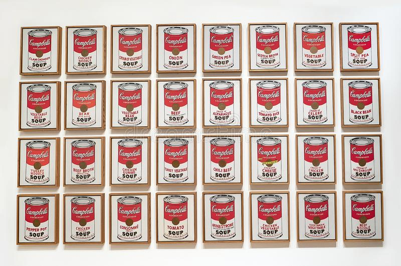 Andy Warhol--From A To B And Back Again at Whitney Museum. Campbell`s Soup Cans, 1962, made with casein, acrylic, and graphite on canvas on 32 panels, one of stock image