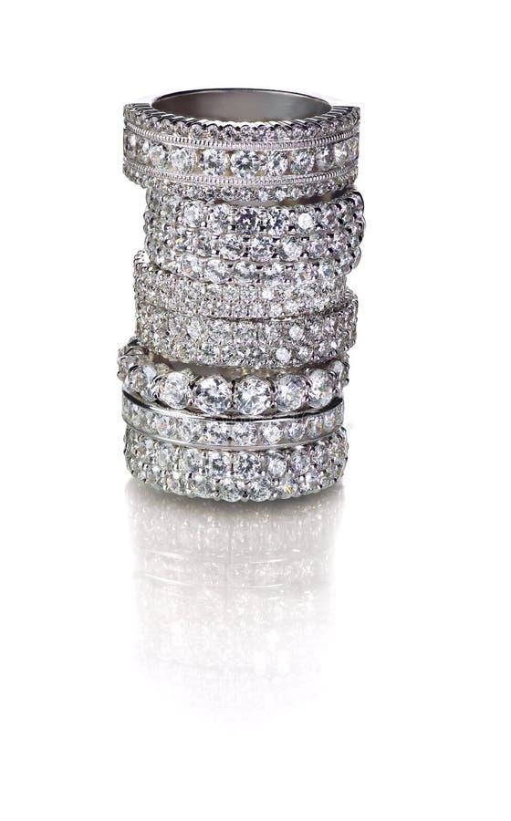 Aneis de diamante fotografia de stock