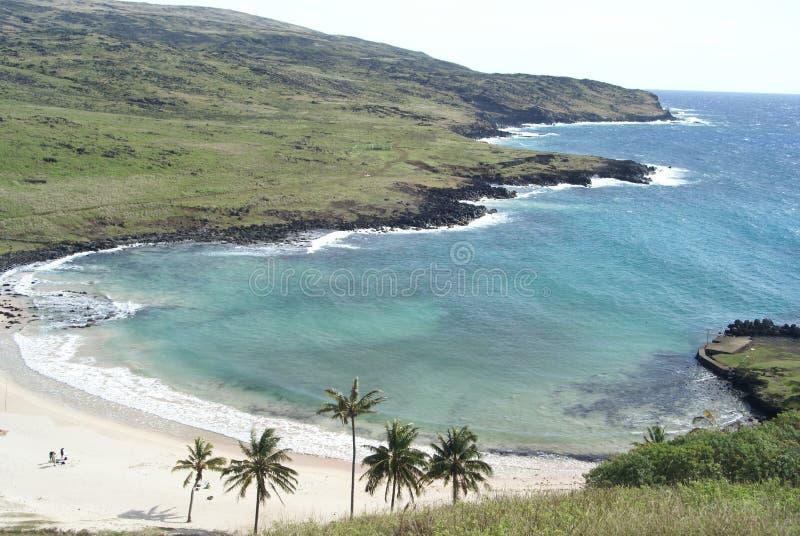 Anekena in Easter Island. Anekena beach and shore line in Easter Island