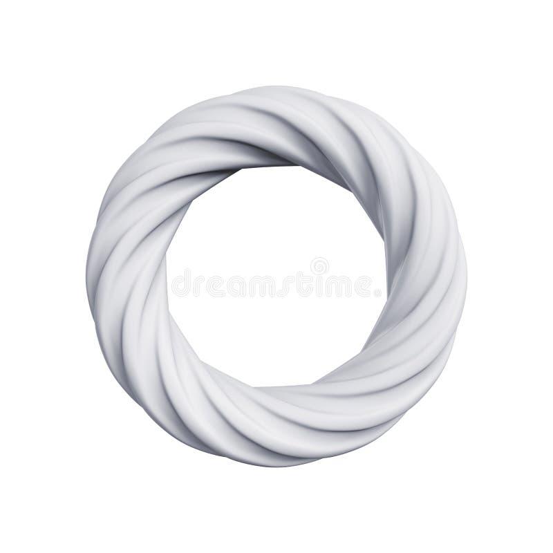 Anel abstrato isolado em um fundo branco, rendição 3D ilustração royalty free