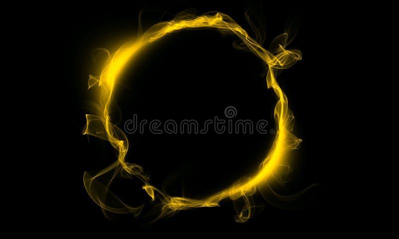 Anel amarelo que consiste em um fumo A coisa mágica fantasy imagem de stock