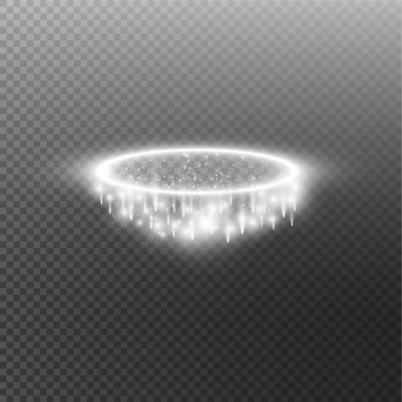 Anel branco do anjo do halo Isolado no fundo transparente preto, ilustração do vetor ilustração royalty free