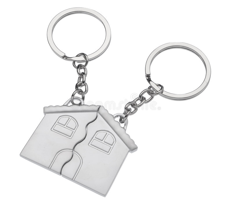 Anel chave dado forma casa foto de stock