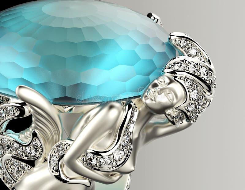 Anel com diamante Fundo da joia da forma ilustração stock