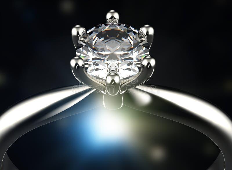 Anel com diamante Fundo preto da jóia da tela do ouro e da prata imagens de stock royalty free