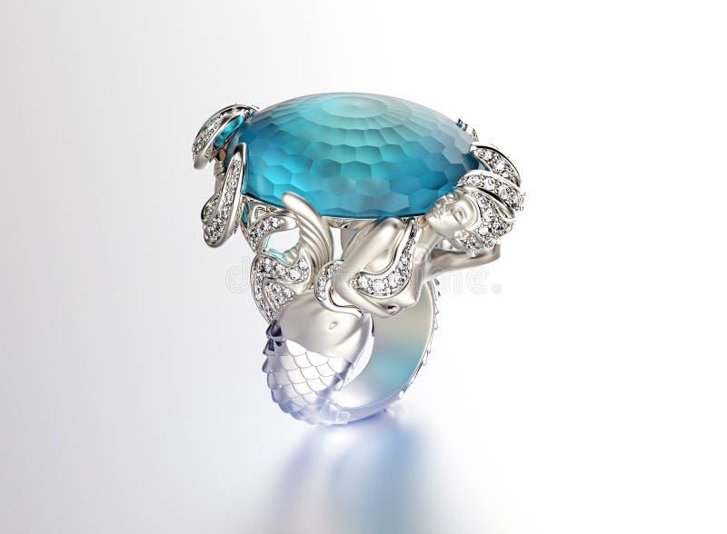Anel com diamante Fundo preto da jóia da tela do ouro e da prata ilustração royalty free