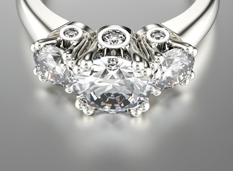 Anel com diamante Fundo preto da jóia da tela do ouro e da prata ilustração do vetor
