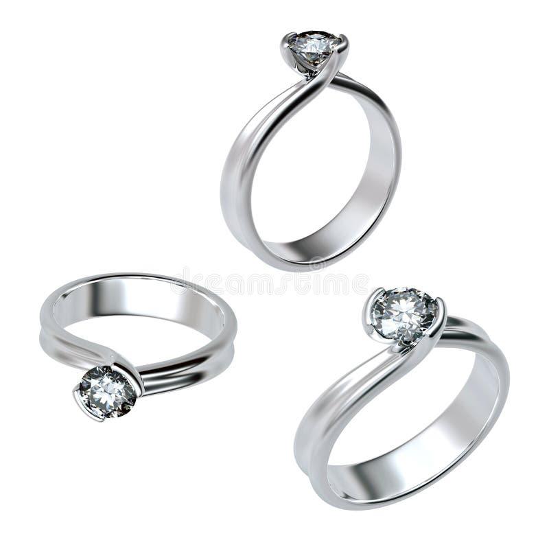 Anel com o diamante isolado ilustração royalty free