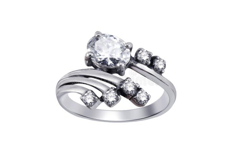 Anel com os gemstones isolados imagem de stock royalty free