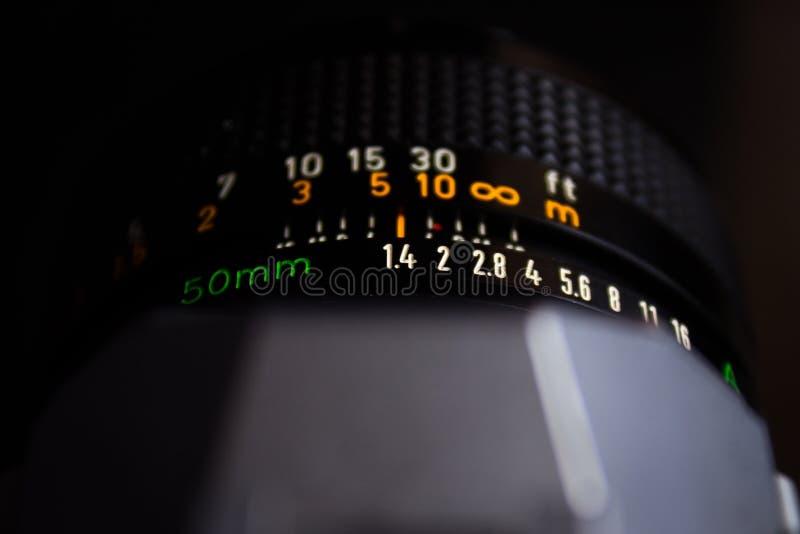 Anel da abertura de 50mm 1 lente de 4 cânones fotos de stock royalty free
