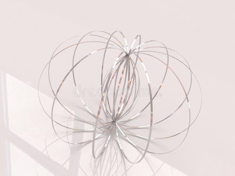 Anel da escultura de Ring Kinetic Spring Toy 3D do fluxo ilustração royalty free