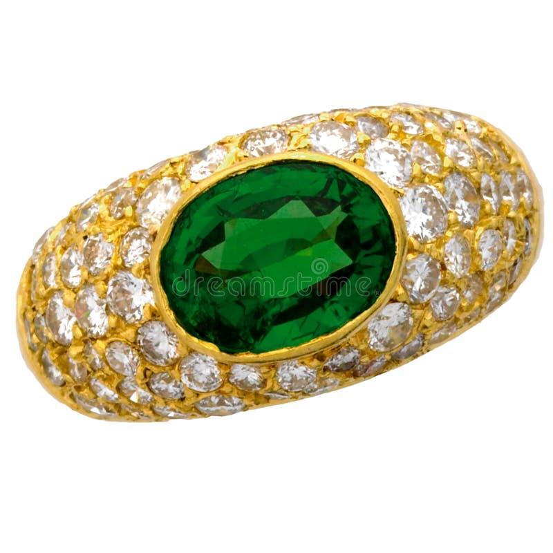 Anel da esmeralda e de diamante fotografia de stock