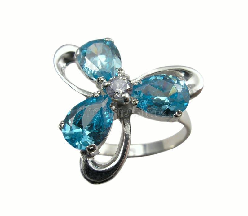 Anel da jóia com safiras fotografia de stock royalty free