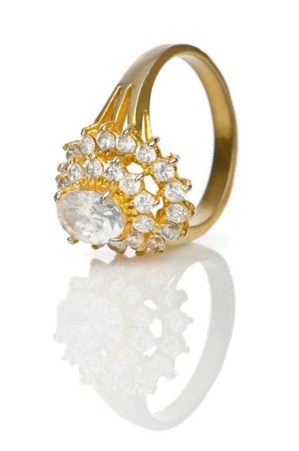 Anel da jóia no branco fotografia de stock royalty free