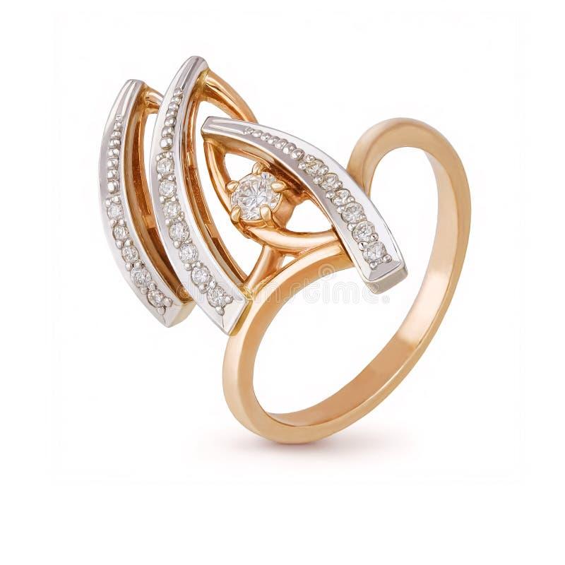 Anel da joia com os diamantes no fundo branco fotos de stock royalty free