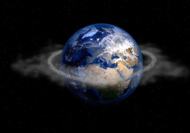 Anel da sucata de espaço em torno da terra do planeta vista no espaço escuro ilustração stock