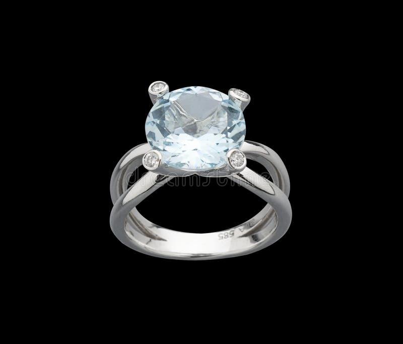 Anel das gemas de Aquamarine fotografia de stock royalty free