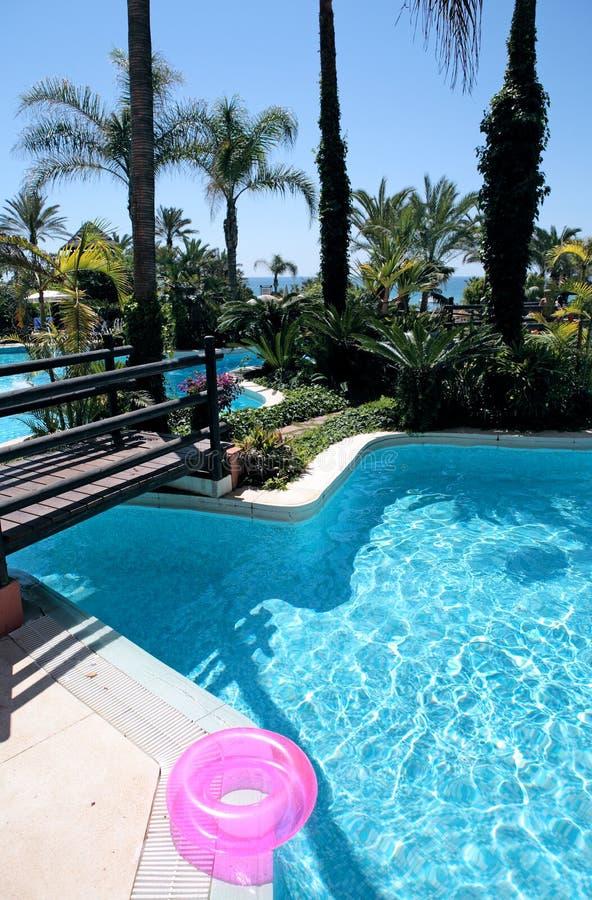 Anel de borracha cor-de-rosa ao lado da piscina luxuosa imagens de stock royalty free
