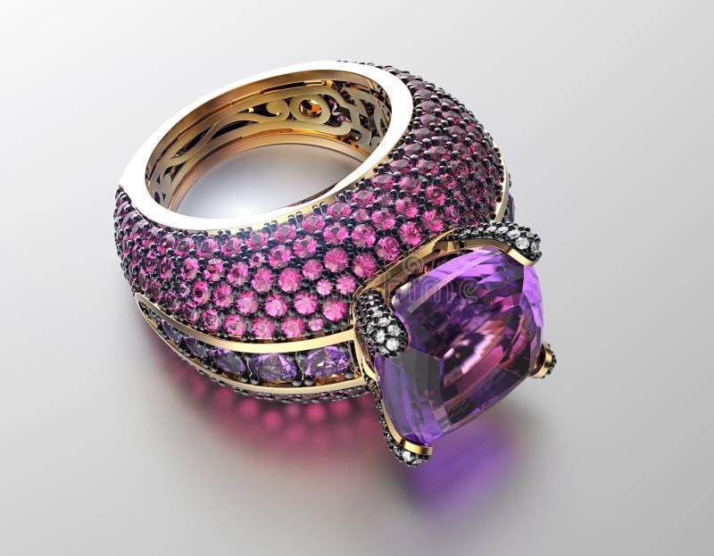 Anel de casamento com diamante Fundo preto da jóia da tela do ouro e da prata ilustração stock
