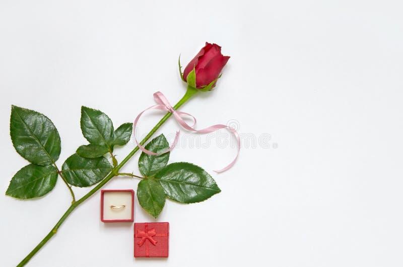 Anel de casamento com Rosa fotos de stock royalty free