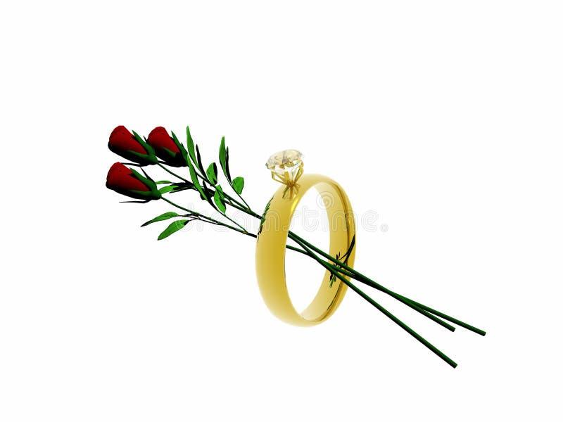 Anel de casamento com rosas. ilustração royalty free