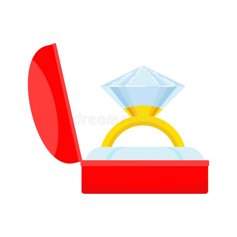 Anel de casamento na caixa ilustração royalty free