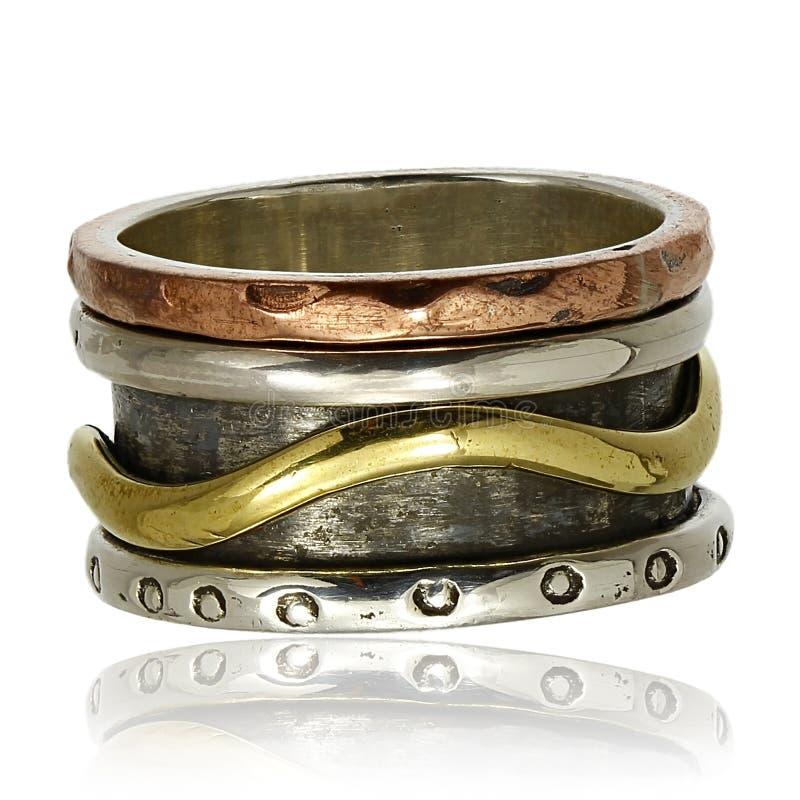 Anel de cobre e de prata imagens de stock