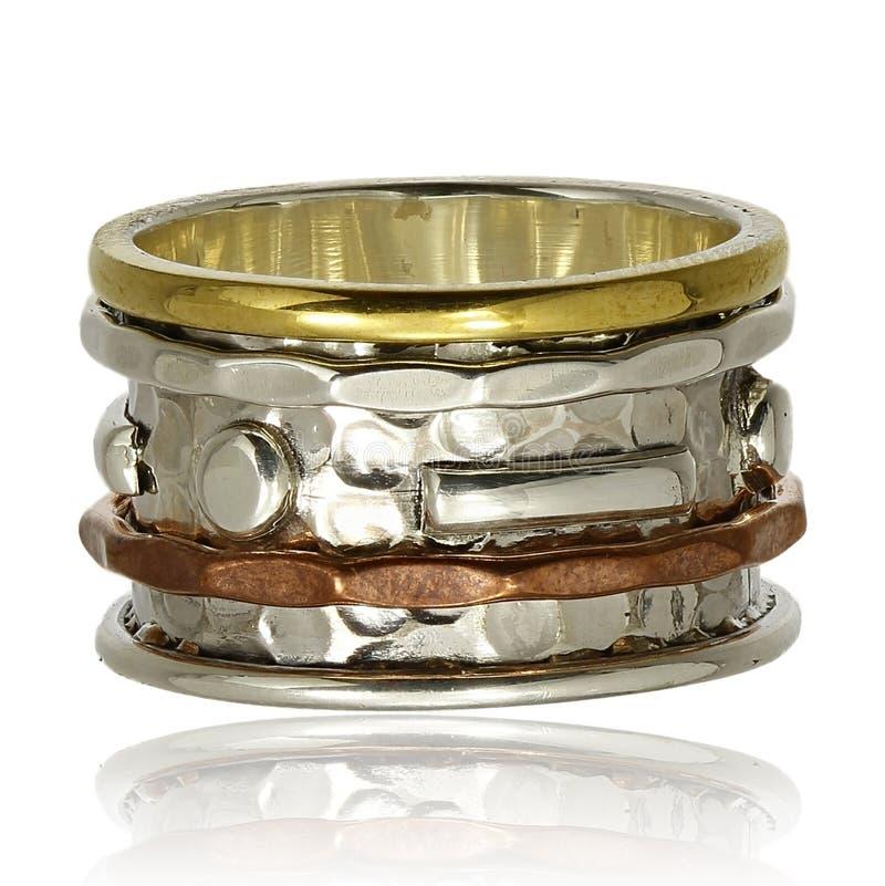 Anel de cobre e de prata fotografia de stock