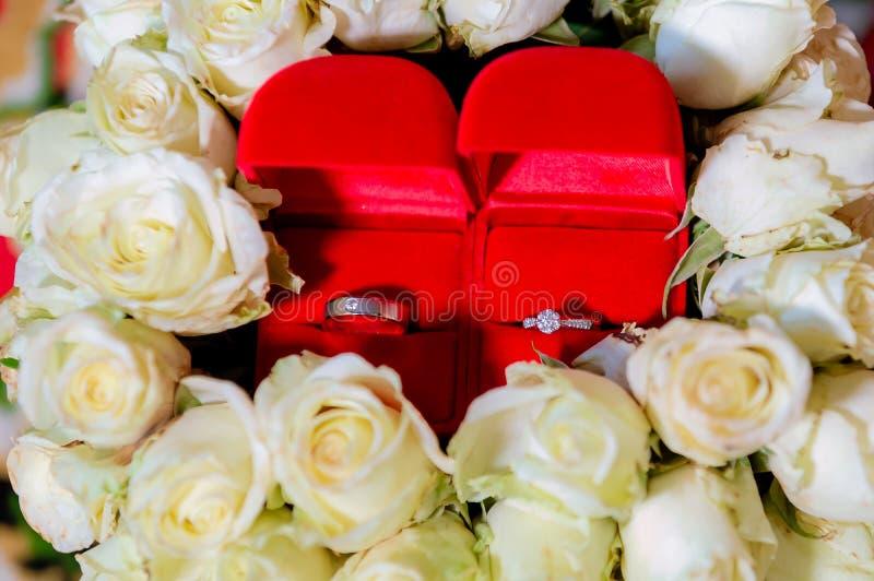 Anel de diamante, alian?a de casamento, pre?o de noiva da alian?a de casamento S?mbolos do casamento Cerim?nia de casamento image imagens de stock