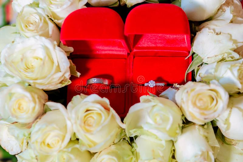 Anel de diamante, alian?a de casamento, pre?o de noiva da alian?a de casamento S?mbolos do casamento Cerim?nia de casamento image fotos de stock royalty free