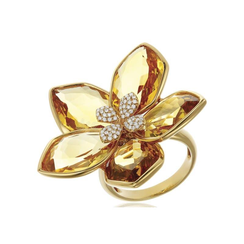 Anel de diamante amarelo isolado no branco fotos de stock royalty free