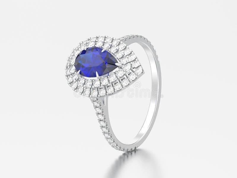 anel de diamante azul da safira da pera decorativa do illustrationsilver 3D ilustração stock