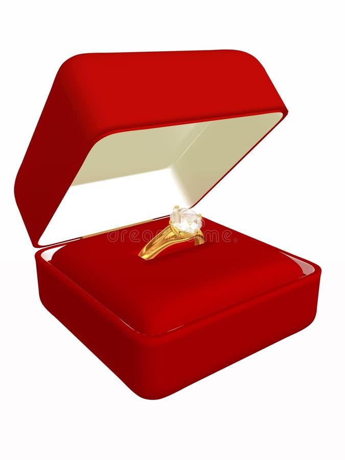 Anel de diamante caso que ilustração do vetor