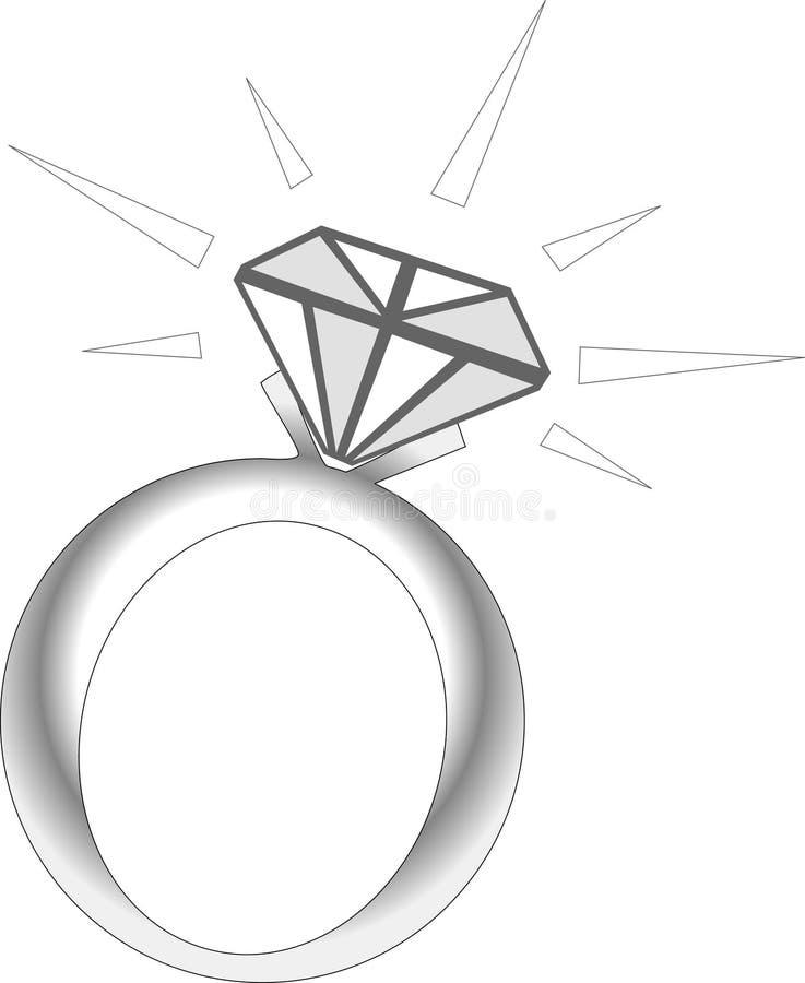 Anel de diamante da faísca ilustração do vetor