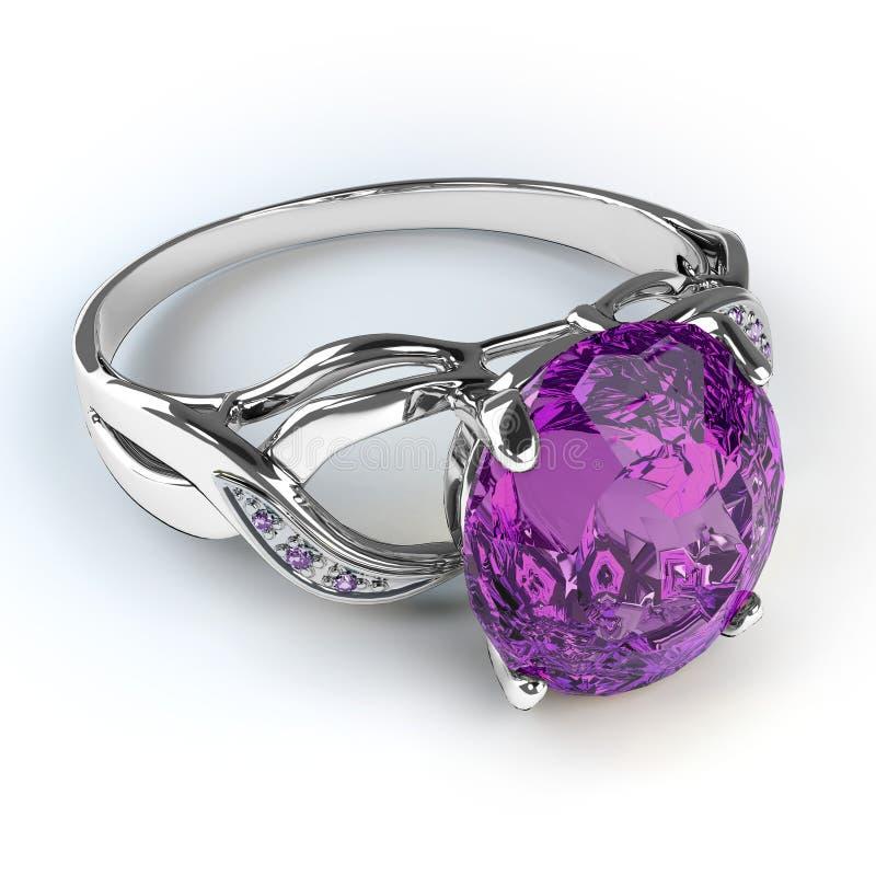 Anel de diamante de prata do casamento ilustração royalty free