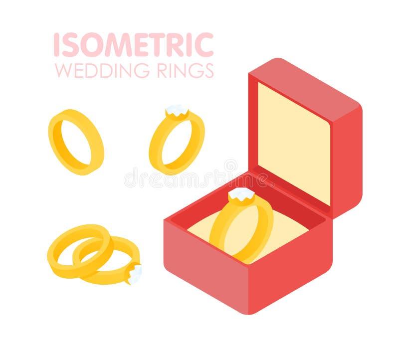 Anel de diamante do casamento em um grupo isométrico da caixa Ilustração do vetor ilustração stock