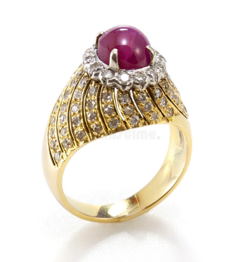 Anel de diamante do rubi fotos de stock royalty free