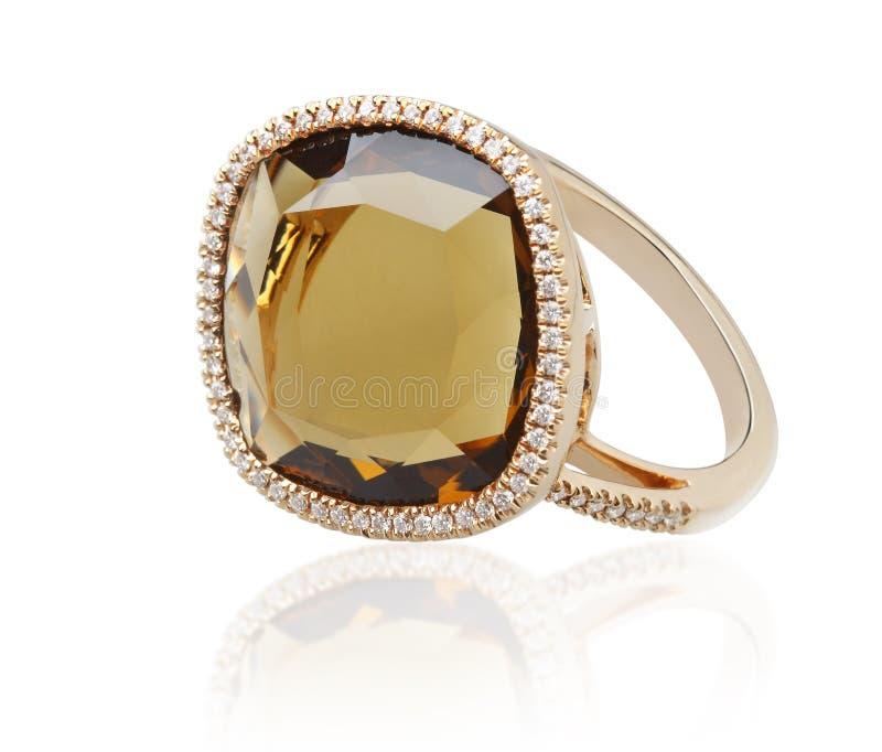 Anel de diamante do Topaz foto de stock